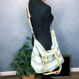 Large Green & White Crossbody Travel Bag
